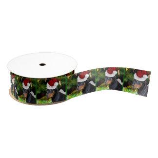 """クリスマスのロットワイラーの子犬1.5""""グログランリボン グログランリボン"""