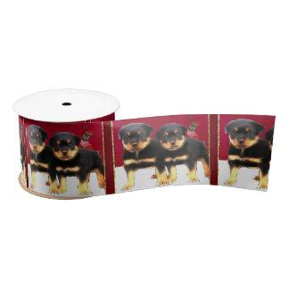 """クリスマスのロットワイラーの子犬3.0""""サテンリボン サテンリボン"""