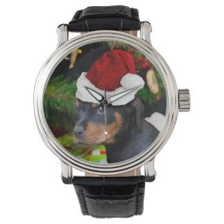 クリスマスのロットワイラーの子犬 腕時計