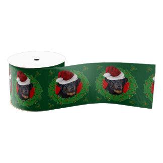 """クリスマスのロットワイラー犬3""""グログランリボン グログランリボン"""