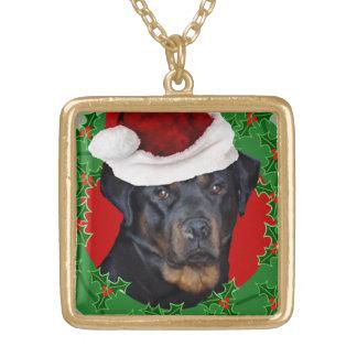 クリスマスのロットワイラー犬 ゴールドプレートネックレス