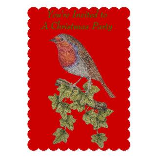 クリスマスのロビンおよびキヅタの葉の絵 12.7 X 17.8 インビテーションカード