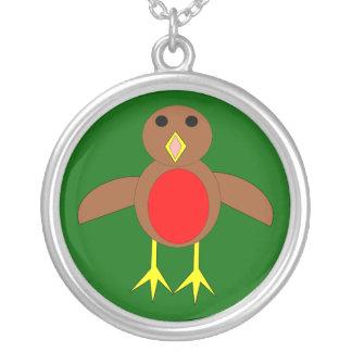 クリスマスのロビンのネックレス シルバープレートネックレス