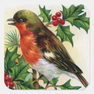 クリスマスのロビンのヴィンテージのイラストレーション スクエアシール