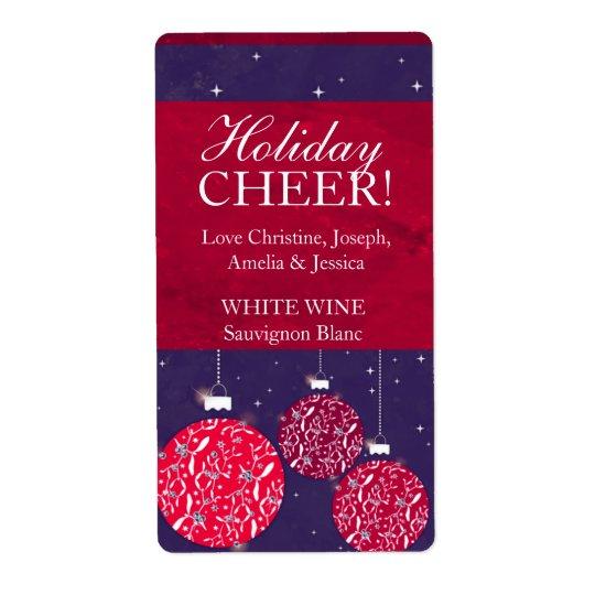 クリスマスのワインのラベルのつまらないものの赤く青い名前 ラベル