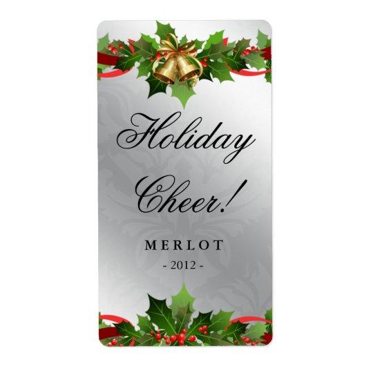 クリスマスのワインのラベルのヒイラギのシルバーベルのダマスク織 ラベル