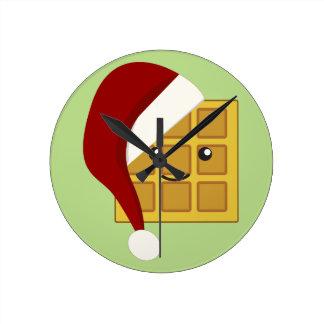 クリスマスのワッフル ラウンド壁時計