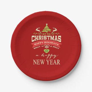 クリスマスのヴィンテージのシカの単語の芸術|の赤 ペーパープレート