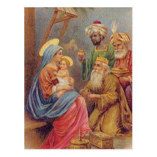 クリスマスのヴィンテージの出生のイエス・キリストのイラストレーション ポストカード