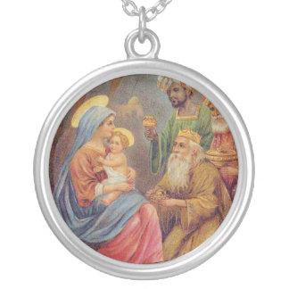 クリスマスのヴィンテージの出生のイエス・キリストの絵 シルバープレートネックレス