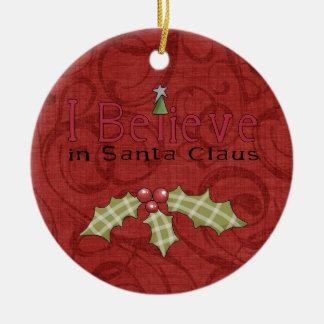 クリスマスのヴィンテージはサンタで信じます セラミックオーナメント