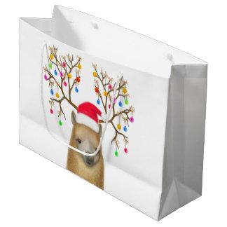 クリスマスの休日のアルパカのギフトバッグ ラージペーパーバッグ