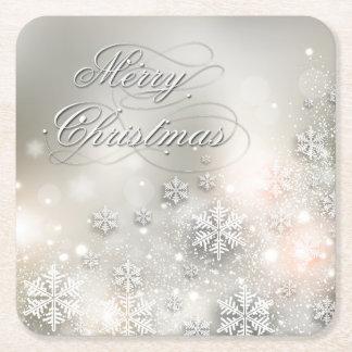 クリスマスの休日のエレガントな雪片 スクエアペーパーコースター