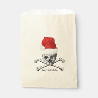 クリスマスの休日のサンタの帽子のスカル フェイバーバッグ