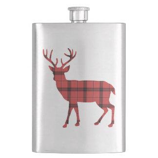 クリスマスの休日のシカの赤い格子縞のタータンチェックパターン フラスク