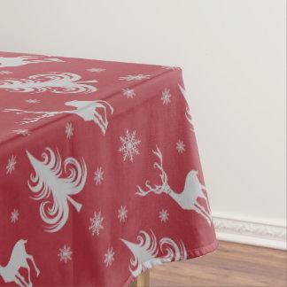 クリスマスの休日のシカの雄鹿パターン赤の銀 テーブルクロス