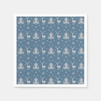 クリスマスの休日のシカの雄鹿パターン青の銀 スタンダードカクテルナプキン