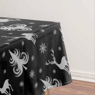 クリスマスの休日のシカの雄鹿パターン黒の銀 テーブルクロス