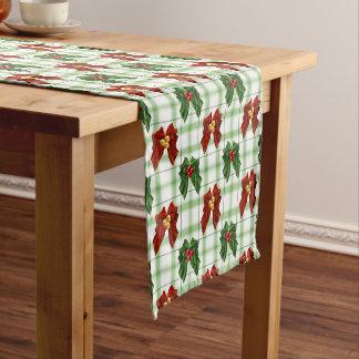 クリスマスの休日のヒイラギの果実の赤いおよび緑の格子縞 ショートテーブルランナー