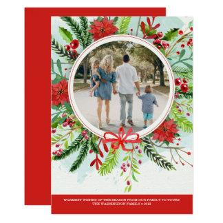 クリスマスの休日のポインセチアの花の写真カード カード