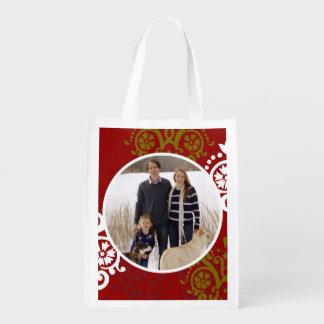 クリスマスの休日の写真のダマスク織パターン エコバッグ