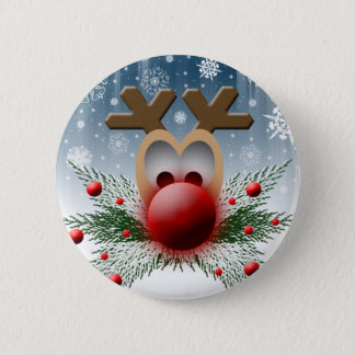 クリスマスの休日の冬のトナカイ 5.7CM 丸型バッジ