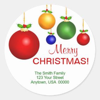 クリスマスの休日の宛名ラベル ラウンドシール