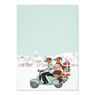 クリスマスの休日の招待-キツネはスズメバチに乗ります カード