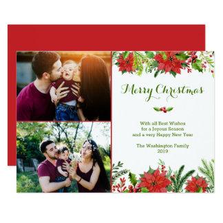 クリスマスの休日の赤いポインセチアの水彩画の写真 カード