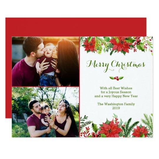 クリスマスの休日の赤いポインセチアの水彩画の写真 12.7 X 17.8 インビテーションカード