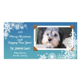 クリスマスの休日の雪片 パーソナライズフォトカード
