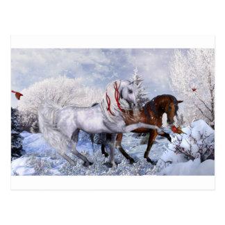 クリスマスの休日の馬 ポストカード