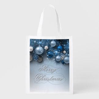 クリスマスの休日-オーナメントの青 エコバッグ