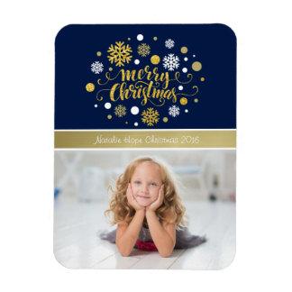 クリスマスの休日-メリークリスマスのきらめくの青 マグネット