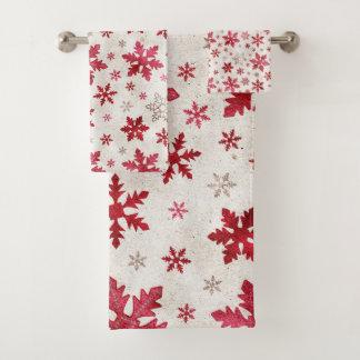 クリスマスの休日-赤いですかクリーム色雪片 バスタオルセット