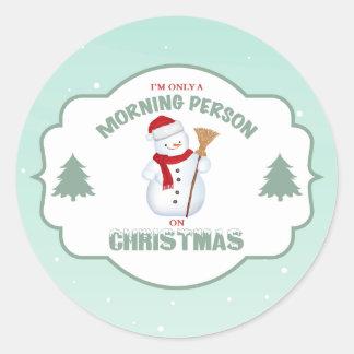 クリスマスの円形のステッカーの朝人 ラウンドシール
