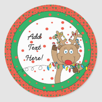 クリスマスの円形のステッカールドルフは個人化なります ラウンドシール
