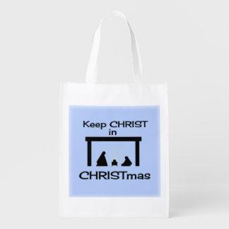 クリスマスの再使用可能な買い物袋のキリストを保って下さい エコバッグ