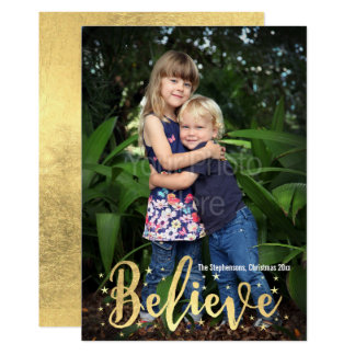 クリスマスの写真の挨拶状を書く金ゴールドを信じて下さい カード