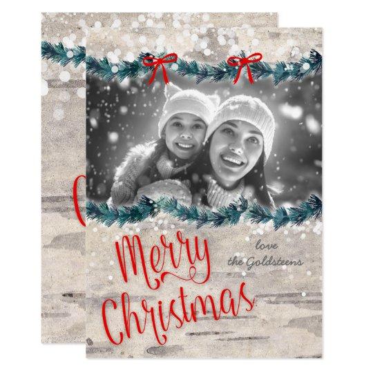 クリスマスの写真カード樺の木吠え声の赤い弓Yuletide カード