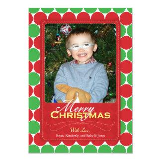 クリスマスの写真カード、赤い及び緑の点 カード