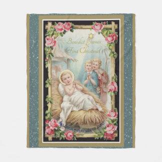 クリスマスの出生のベビーのイエス・キリストのバラ フリースブランケット