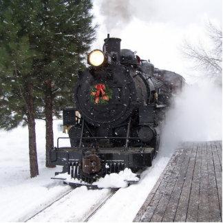クリスマスの列車のオーナメント 写真彫刻オーナメント