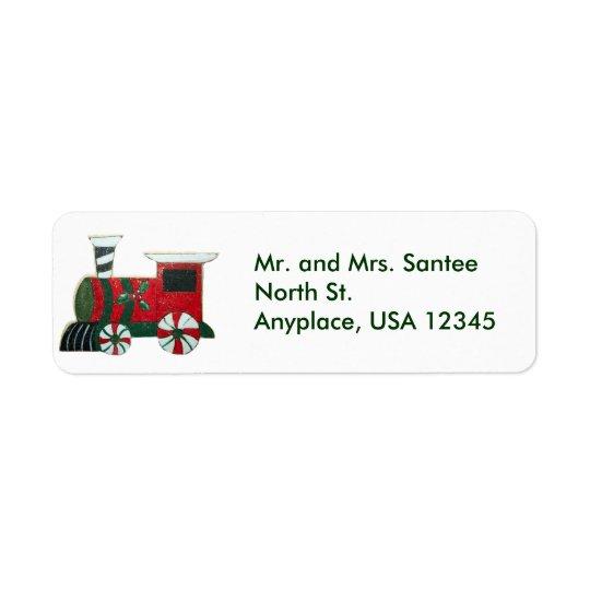クリスマスの列車の宛名ラベル 返信用宛名ラベル