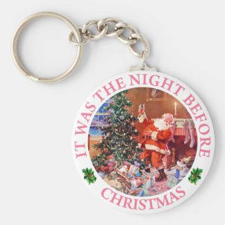 クリスマスの前の夜のサンタクロース キーホルダー