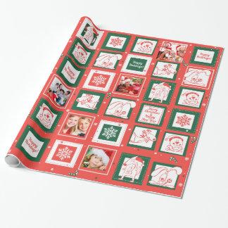 クリスマスの包装紙のための赤いおよび緑パターン ラッピングペーパー