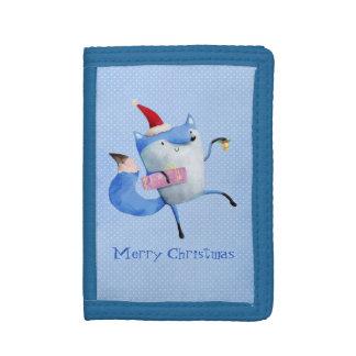 クリスマスの北極のキツネ ナイロン三つ折りウォレット