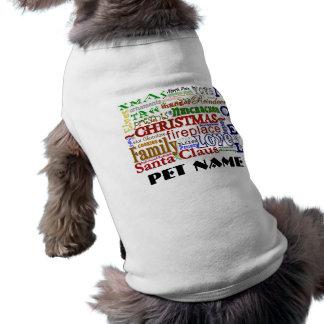 クリスマスの単語芸術-ペットワイシャツ ペット服