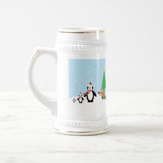 クリスマスの友人: 雪のペンギン及びトナカイ ビールジョッキ