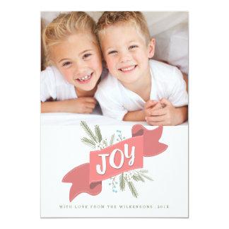 クリスマスの喜びの休日の旗の写真の挨拶 12.7 X 17.8 インビテーションカード